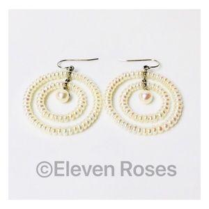 Jewelry - Sterling Silver Pearl Circle Hoop Dangle Earrings
